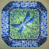 After covering the whole plate with gluing the tiles on leave the plate till the glue is dry.