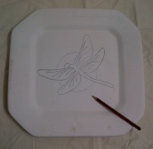 Transfer or draw your design on the plate.